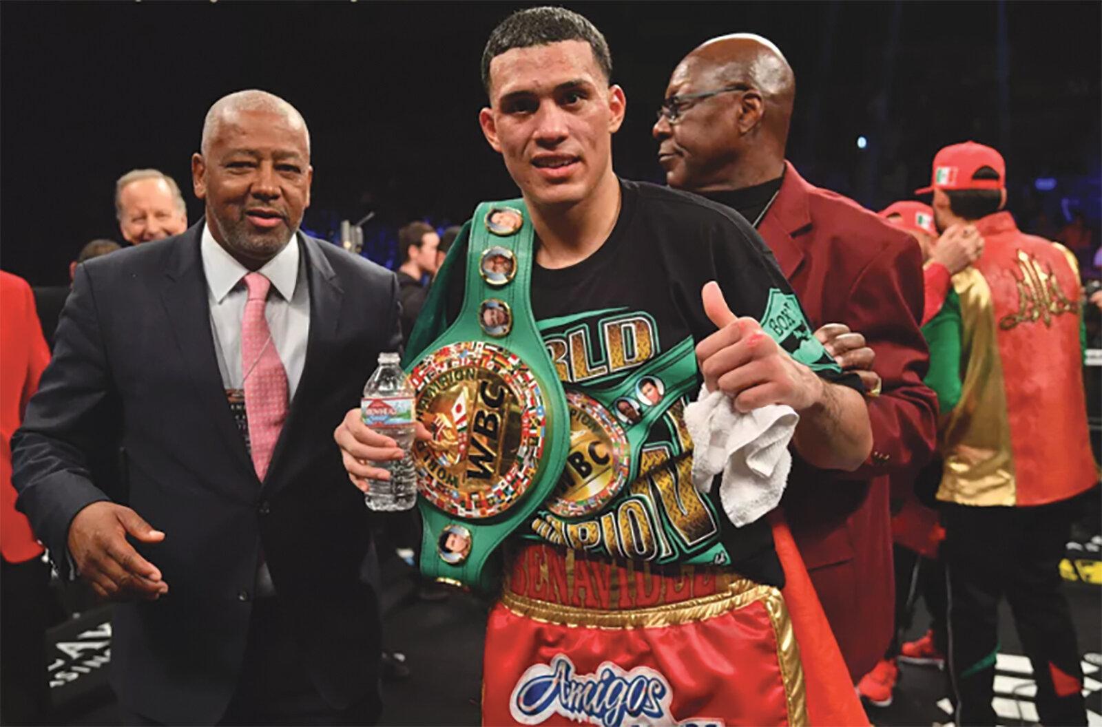 David Benavidez (right) pictured with PBC Boxing Promotor Sam Watson. (Photo Credit: Joe Camporeale-USA TODAY Sports)