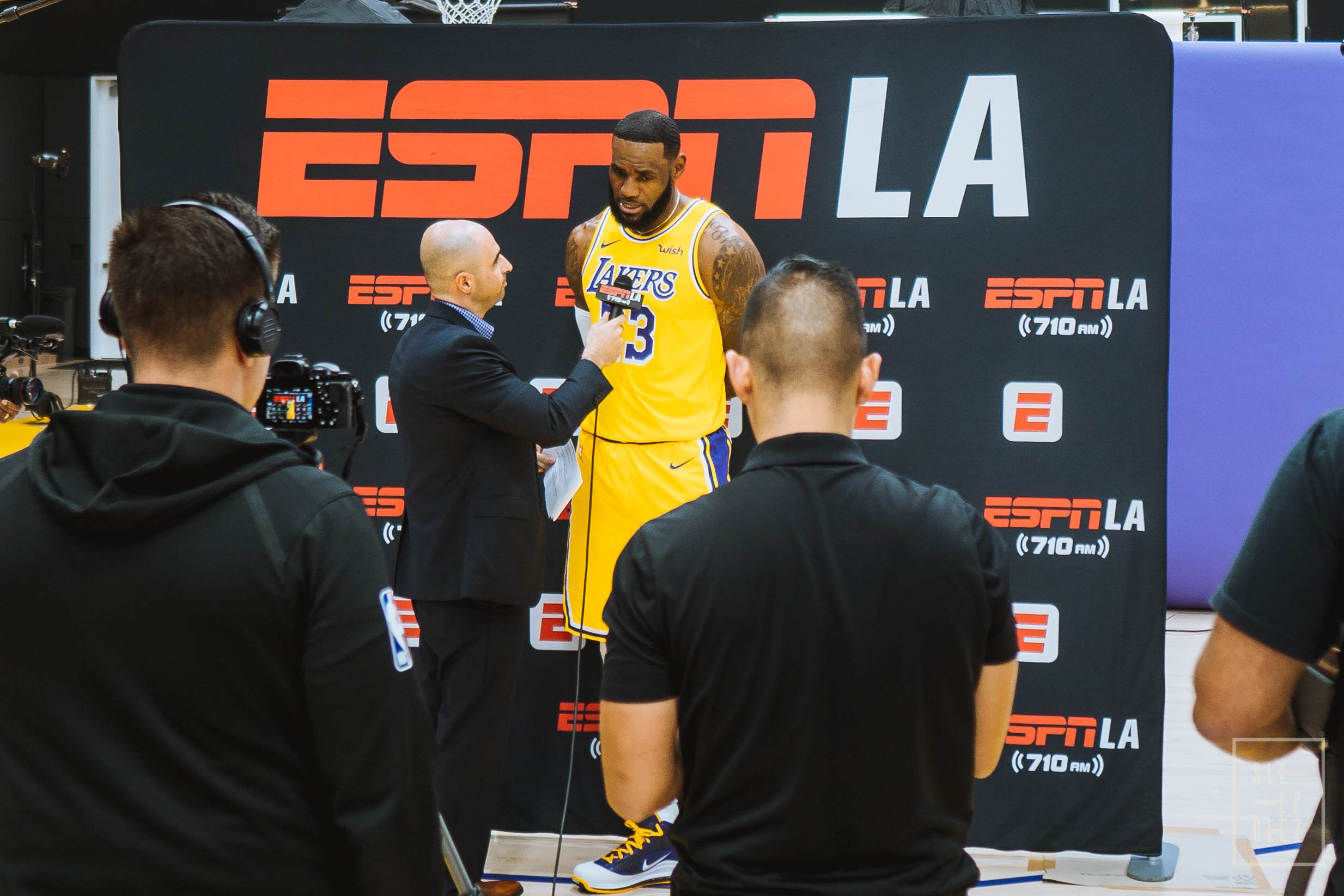 Lakers LeBron James being interviewed by ESPN LA 710am during Media Day. (Photo Credit: @Sleepvision)