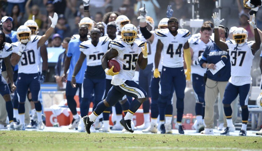 Chargers running back Troymaine Pope returns a punt 81 yards for a touchdown against the Saints.    (Kelvin Kuo / Associated Press)
