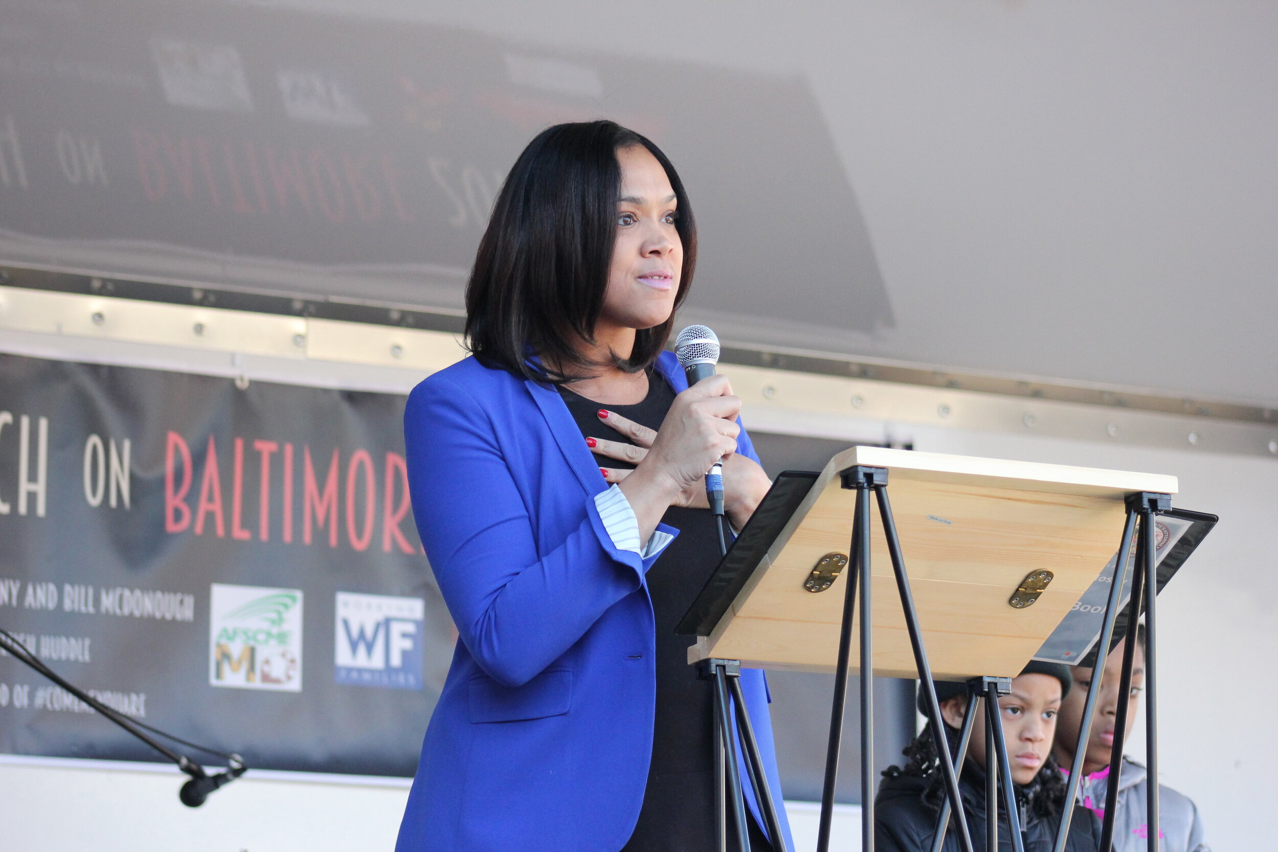 Marilyn Mosby, Baltimore City State's Attorney at the Baltimore Women's March Gathering Rally at War Memorial Plaza at 101 North Gay Street in Baltimore MD. Photo: Elvert Barnes Protest Photography/Wikimedia Commons)