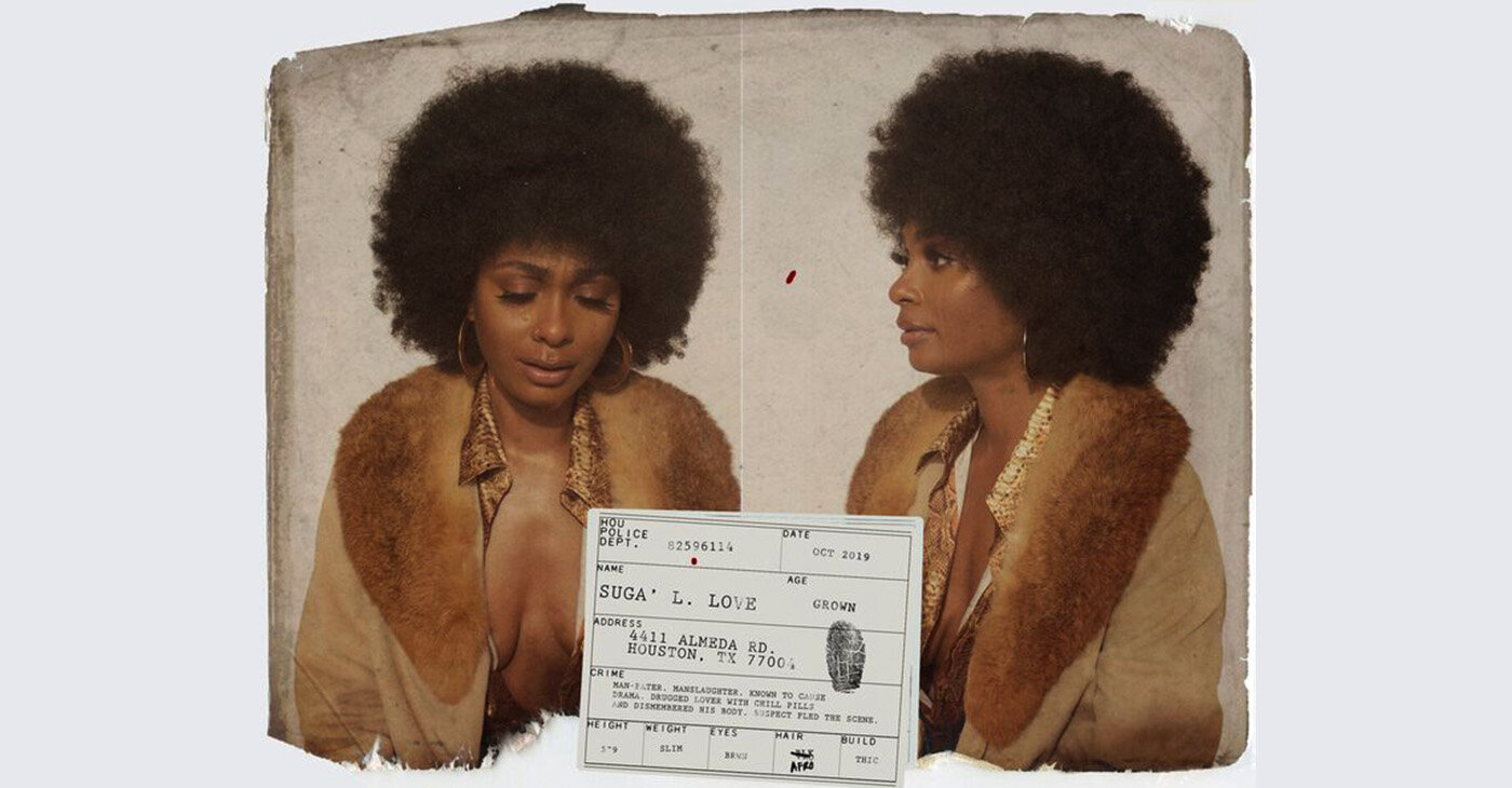 """For """"Relax,"""" she introduces an alter-ego, """"Suga' Love,"""" an afro-wearing Foxy Brown-like character whose looks underscore the fad-happy decade of the 1970s."""