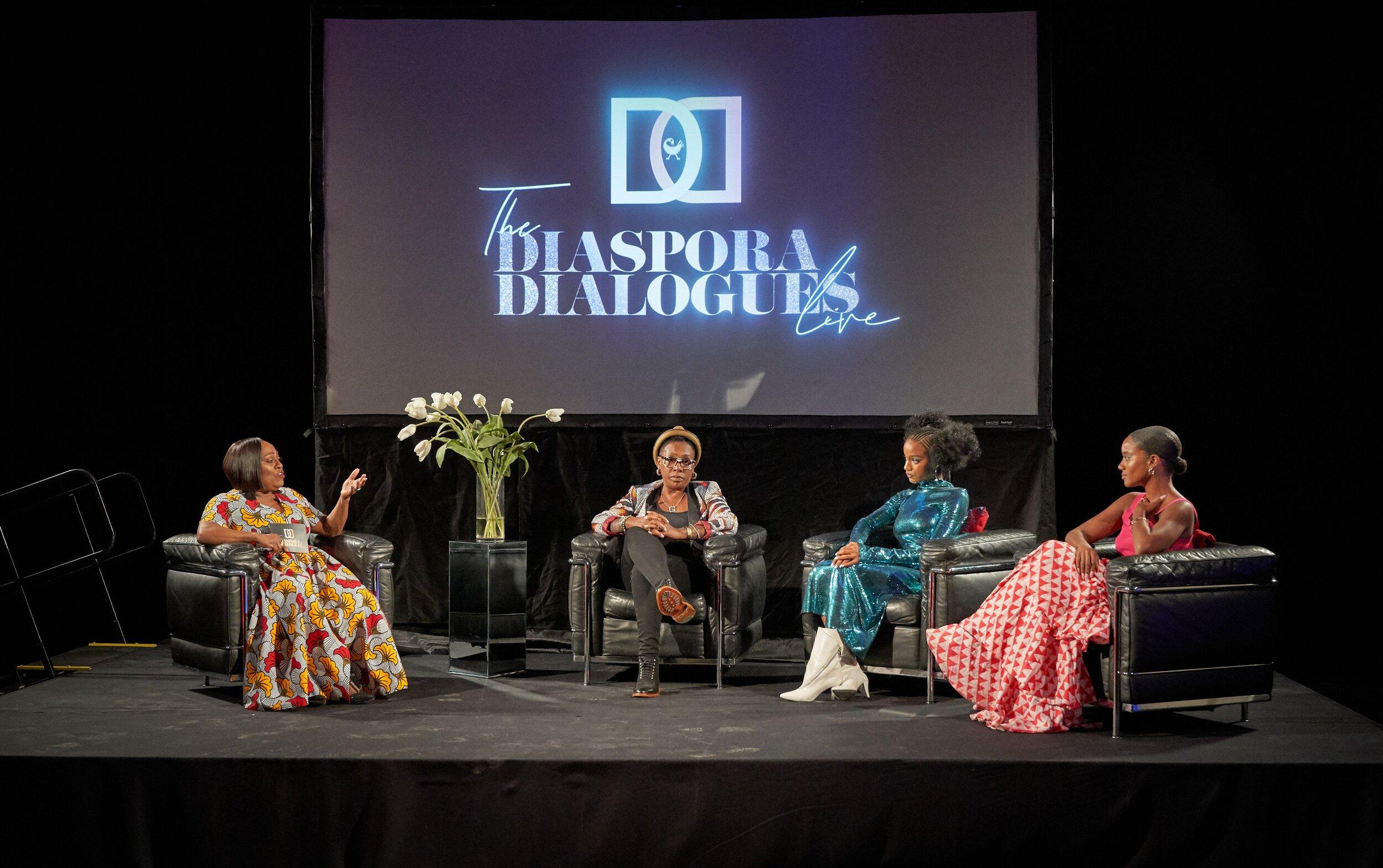 L-R Koshie Mills, Gina Yashere, Ebonee Davis, and Yootha Wong-Loi-Sing. (Photo Credit: Bobby Quillard/The Diaspora Dialogues)