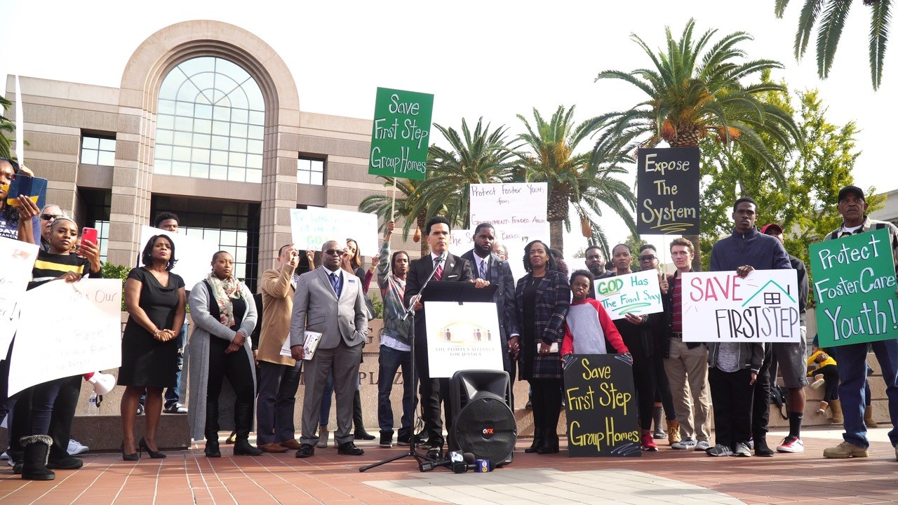 Press conference for the First Step Group Home in front of the of San Bernardino County building December 2, 2019. (CBM Photo)