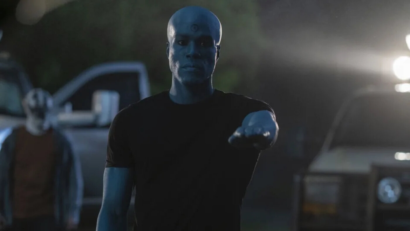 In episode eight, Dr. Manhattan's decision to turn into a black man was based on the fact that Angela feels more comfortable being with a black man and Adrian Veidt's storyline connects since he was the one to erase Dr. Manhattan's Memory.