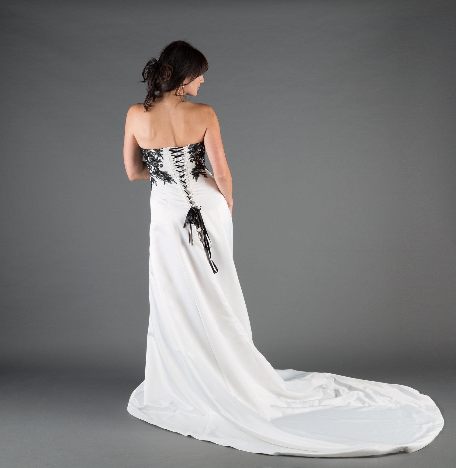 Duchess Ivory Black Wedding Dress Ivory Black