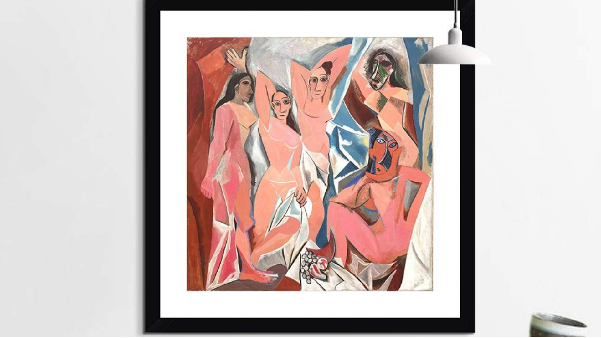 Les Demoiselles d'Avignon  Paris, June-July 1907, Source:  MOMA  |This painting marks Picasso's radical break from traditional composition and has become one of the most famous examples of cubism painting. Picasso abandoned all known form and representation of traditional art when he used distortion of a female's body and geometric forms in an innovative way, which at the time challenged the expectation that paintings will offer idealized representations of female beauty. It is also significant as it pays homage to the influence African art had on Picasso.