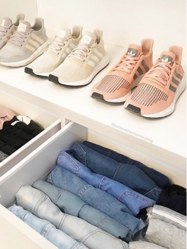 Above: The KonMari folding method.| Source:  @mariekondo