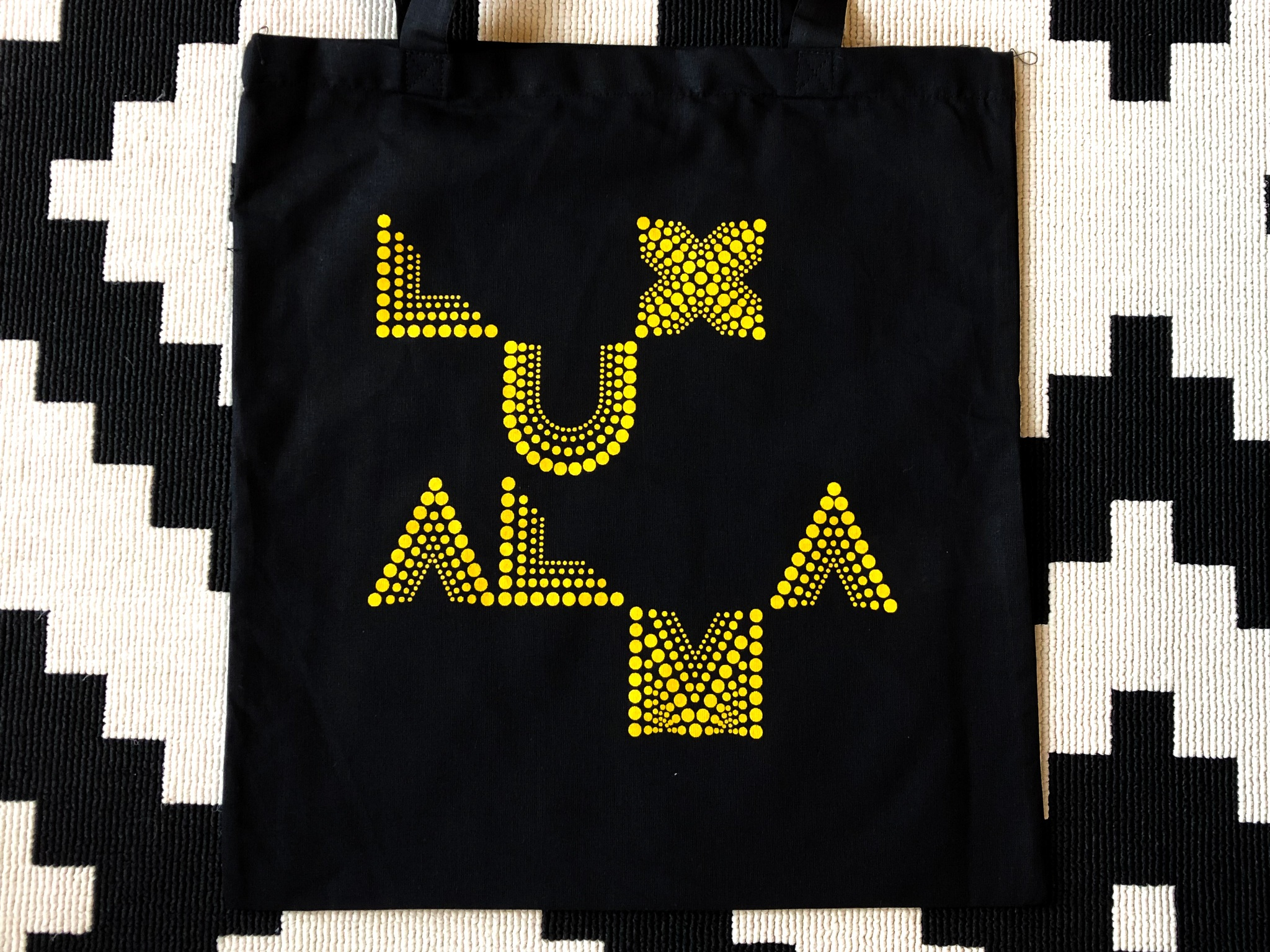 LUX ALMA Tote Bag - €10 plus postage    Designed by Niall Sweeney of Pony Box.  Screen Printed by the T-Shirt Company in Dublin