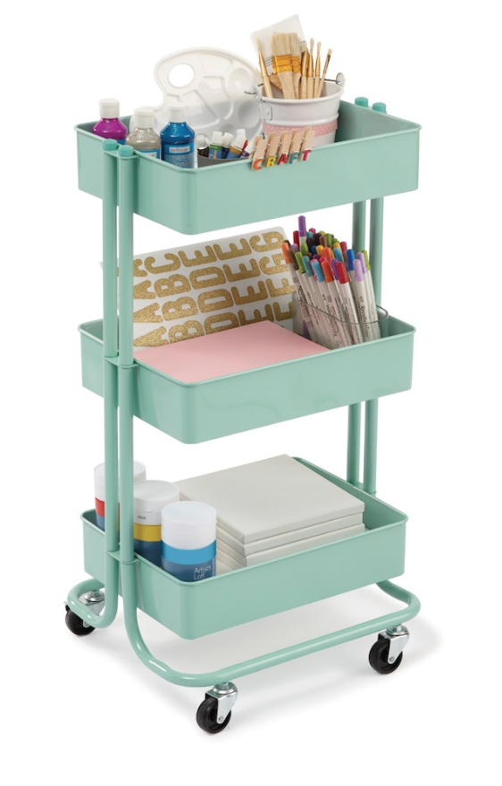 Rolling Metal Storage Cart - From Michaels:Great for iPads.