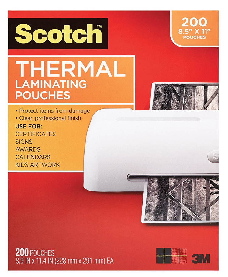 Scotch 3mil Laminating Pouches - From Amazon: These 3mil laminating pouches are perfect for everything from classroom signs to centers.