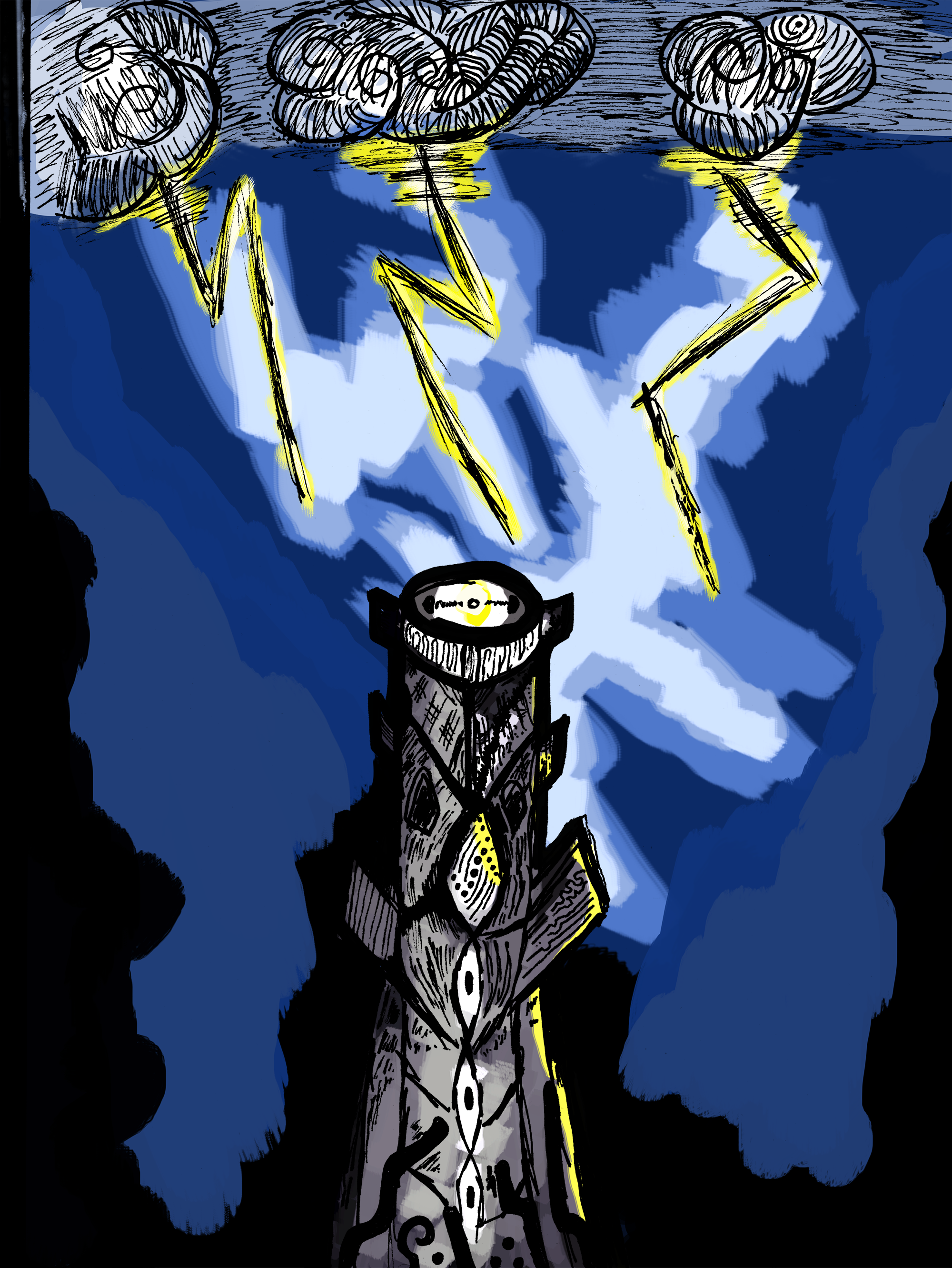 The - Lord of Lightning decided to construct a forward observing post serving as his base of operations near the fog. With a snap of his mighty fingers he summoned a great tower atop an empty hill. The area nearby was barren since people could not live in peace near the mist.