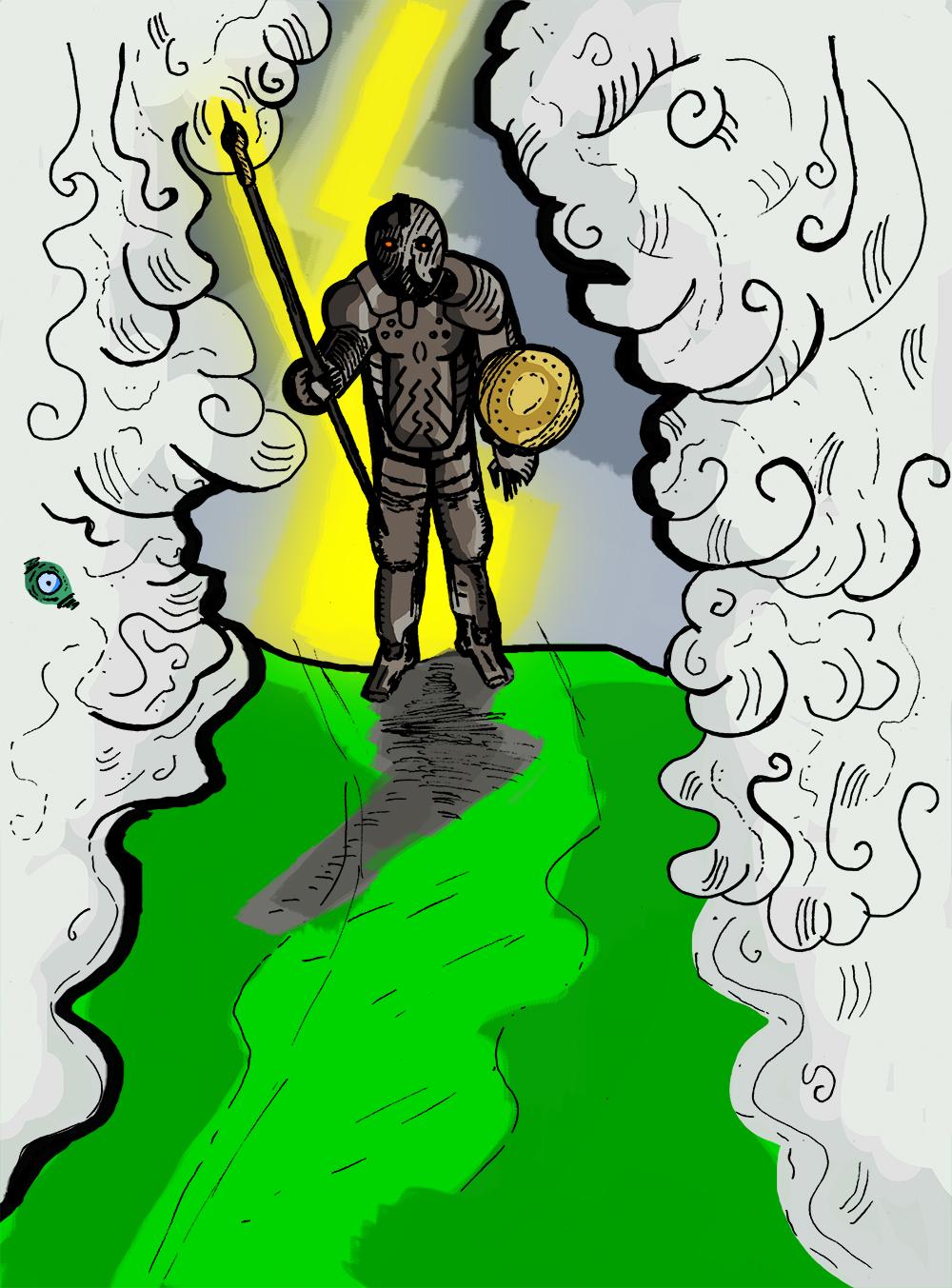 A - figura kezébe hosszú lándzsát és kerek pajzsot adott. Mikor a testtel elkészült, akkor sávokra szabdalt elméjének hatodik szálát a Felderítő üres porhüvelyébe kényszerítette.