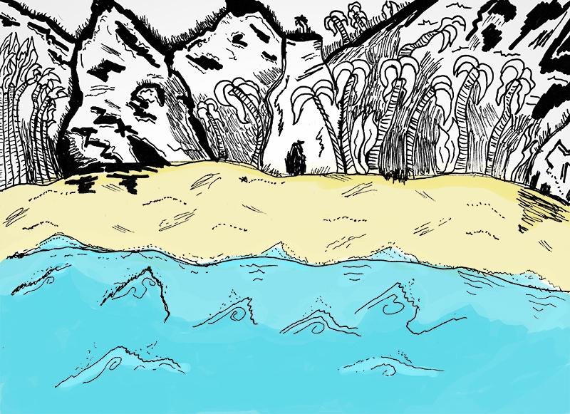 - A szigeten sok növény volt. Idegen kinézetű fák meredtek az ég felé magas fű és tömzsi bokrok ölelésében. Apró kagylóhéjak recsegtek lábam alatt. Rúfusz törött hordókat, ruhát és egyéb törmeléket talált a partra vetve. Emberi nyomok jelezték; nem mi voltunk az egyetlen túlélők. Sietve a csendes sziget belseje felé vettük az irányt.Kiszögellések, dombok és hegyek tették domborúvá a tájat. Köveket és sziklákat kellett megmásznom, melyek vulkáni eredetűnek tűntek.