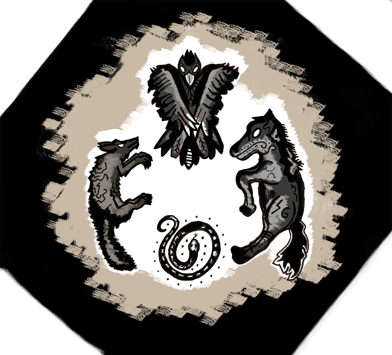 The Wolf, the Horse, the Eagle and the Snake - 2018   Personal myth, private folklore. A story about letting go of love, of traveling and many magical animal forms.
