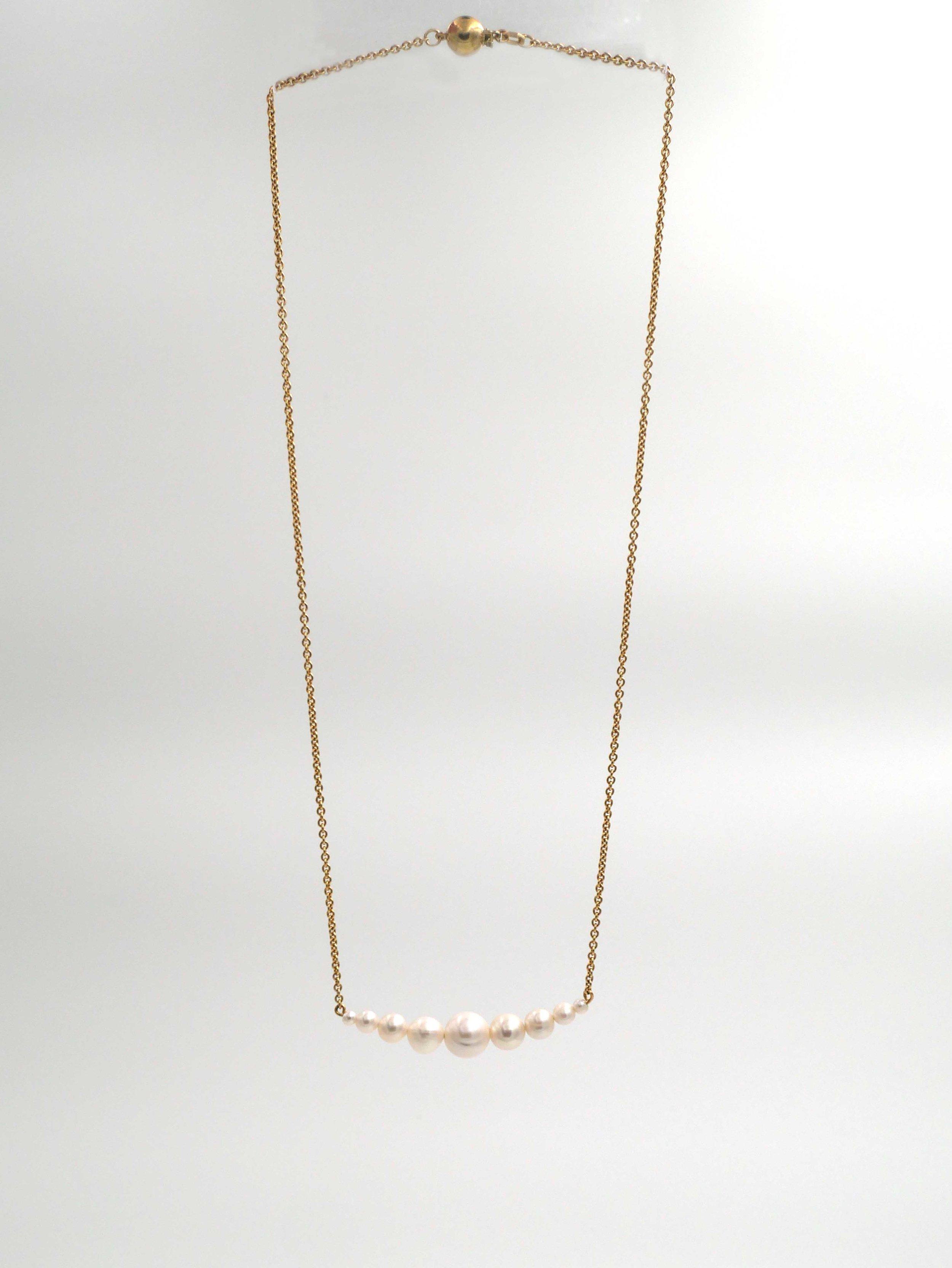 Bijoux de mariage - collier, perle de culture, chaine argent plaqué or jaune