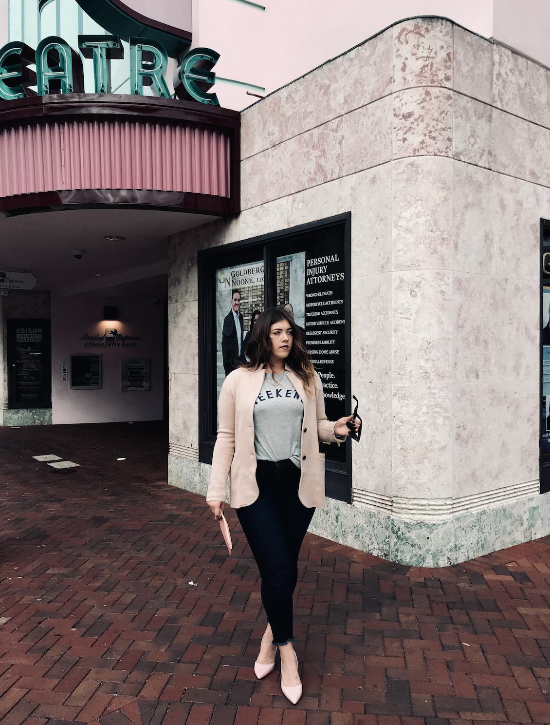 Sweater Blazer  &  Crewed Hem Jeans