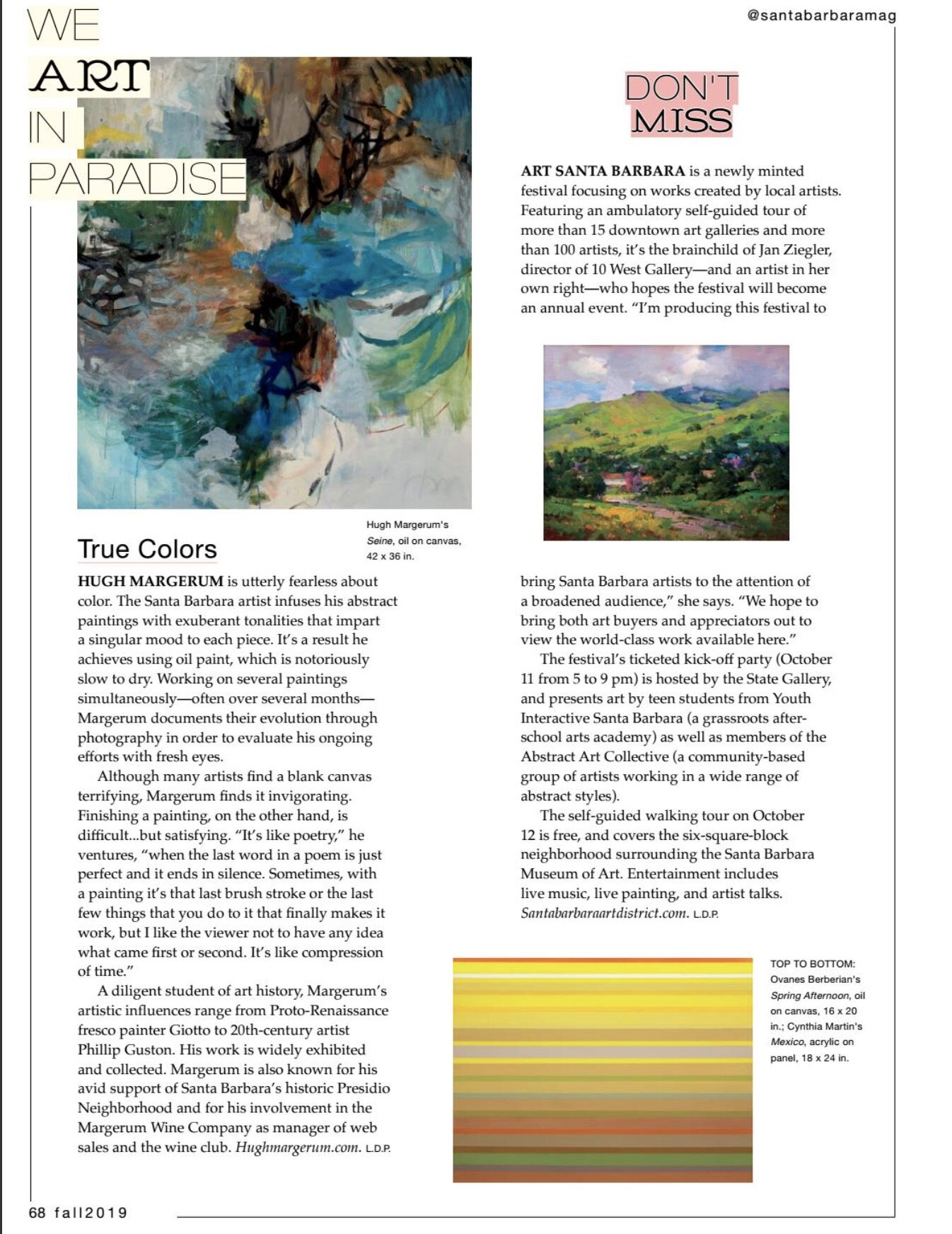 Fall 2019 Article in Santa Barbara Magazine by Lorie Porter