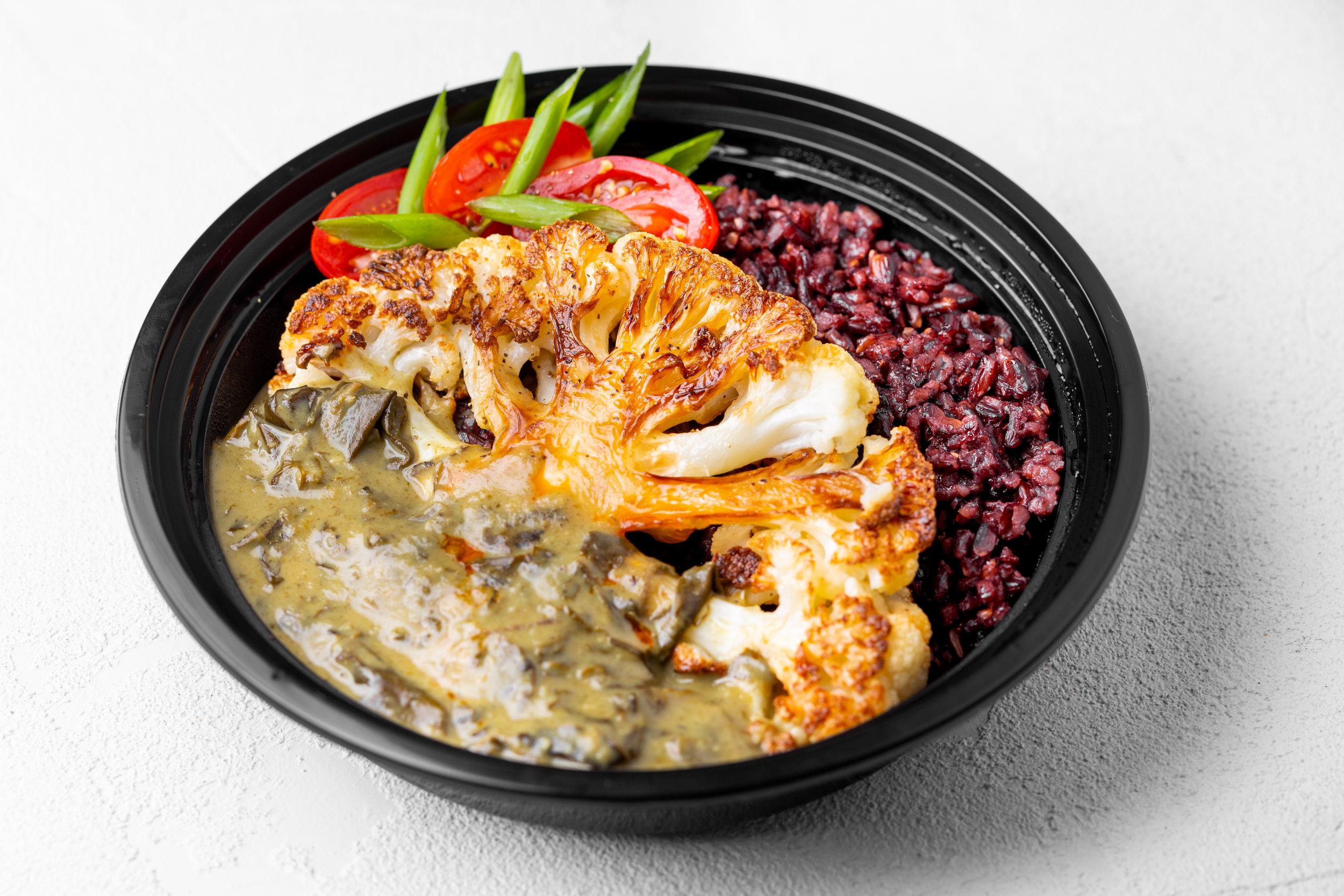 Seared Cauliflower La'ing (v) - Coconut-creamed taro leaf, faux-go'ong, chili oil, marinated tomato.Sub Chicken +$2/Crispy Pork +$3
