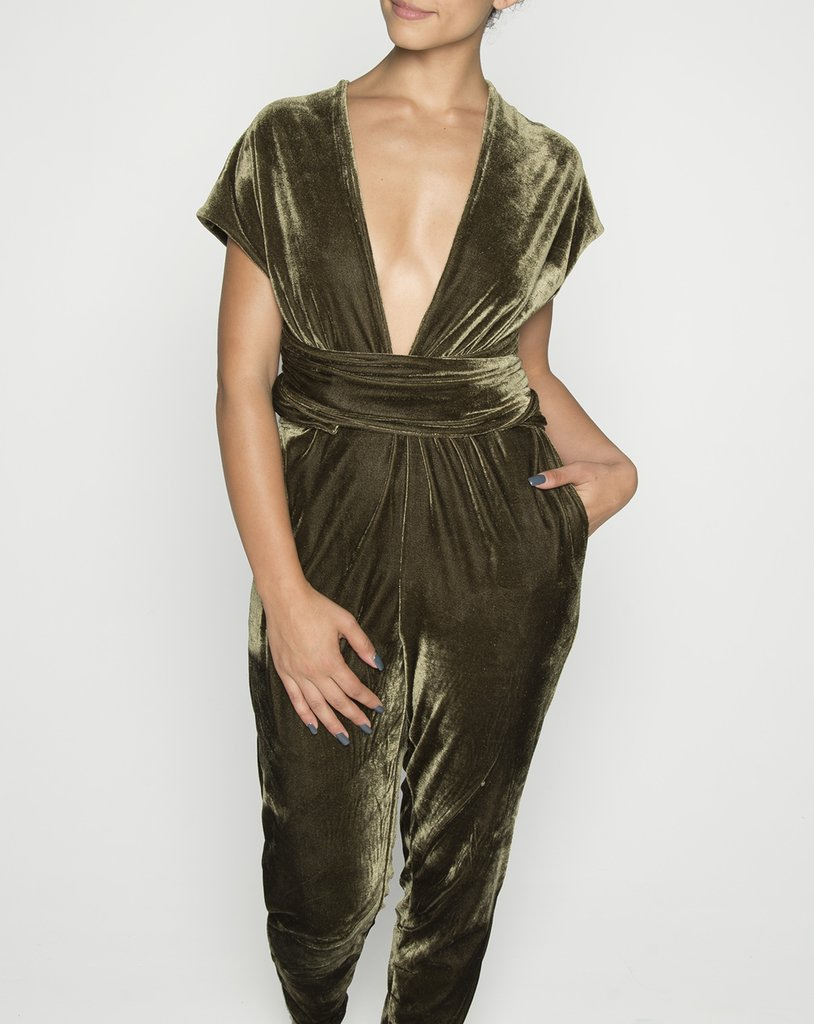 Olive velvet jumpsuit toronto designer