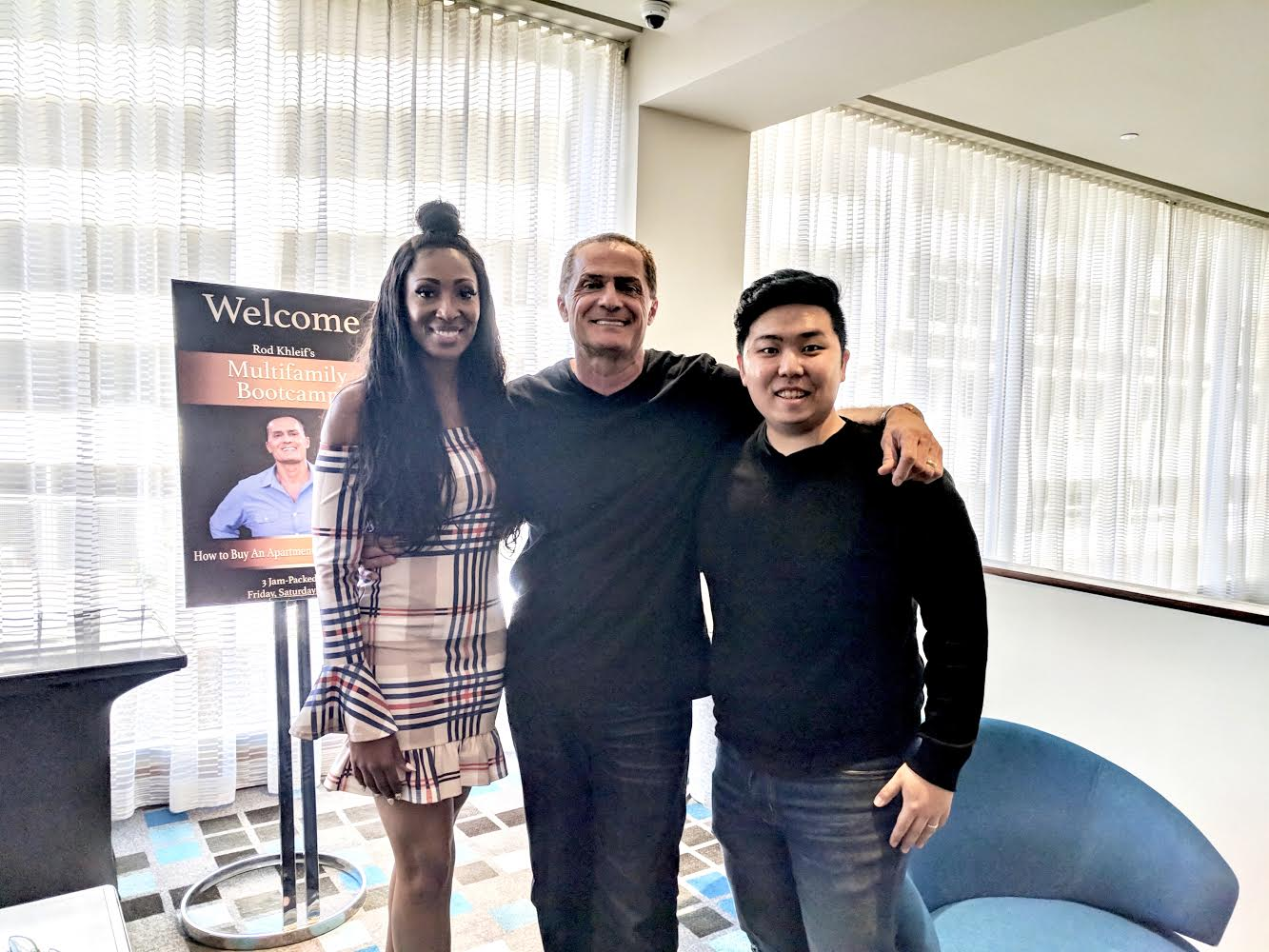 Tiffany khleif (left), Rod khleif (middle), ME (Right) during rod's multifamily bootcamp 2018