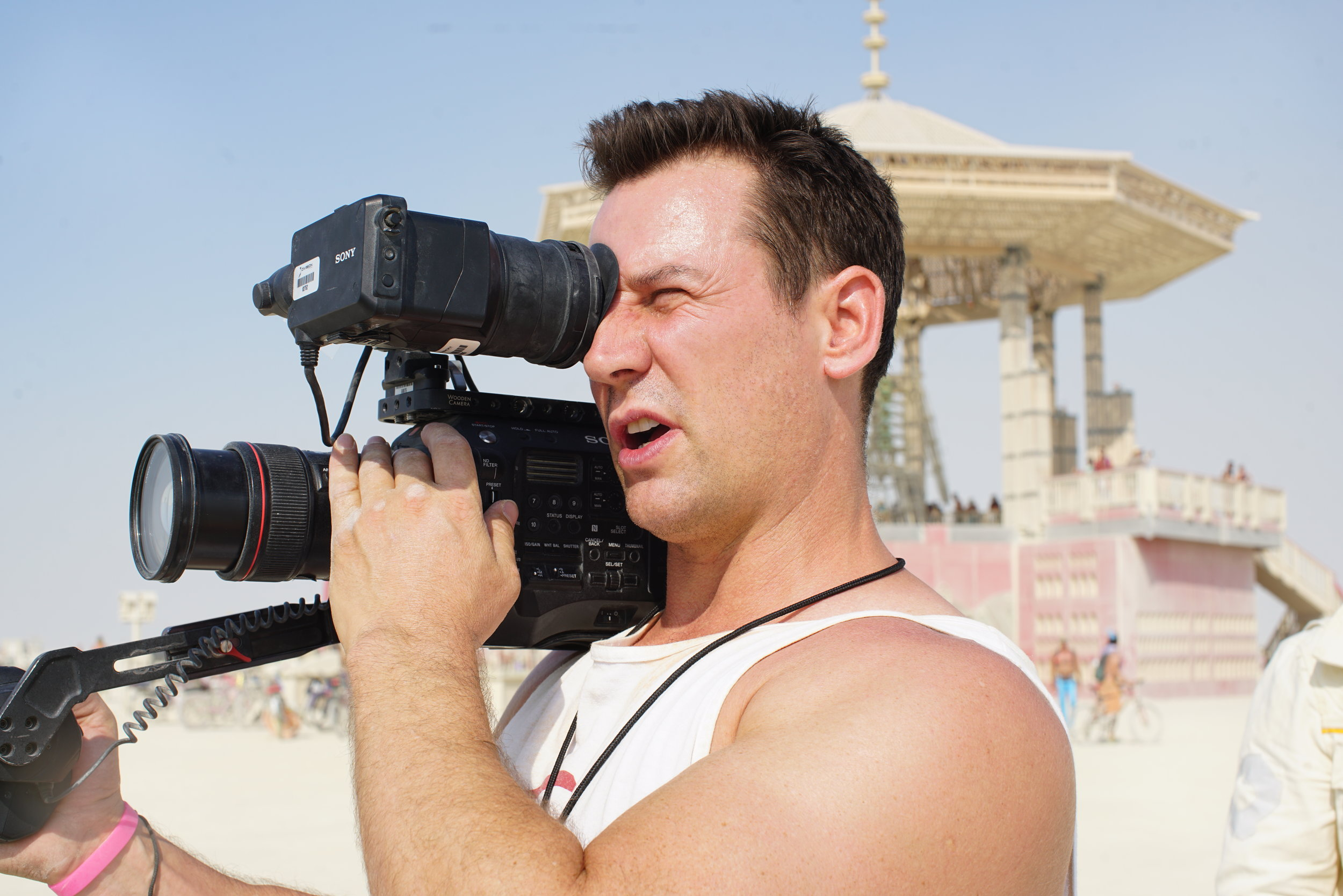 Director of Photography Jeremy Thierry filming outside the Man.JPG
