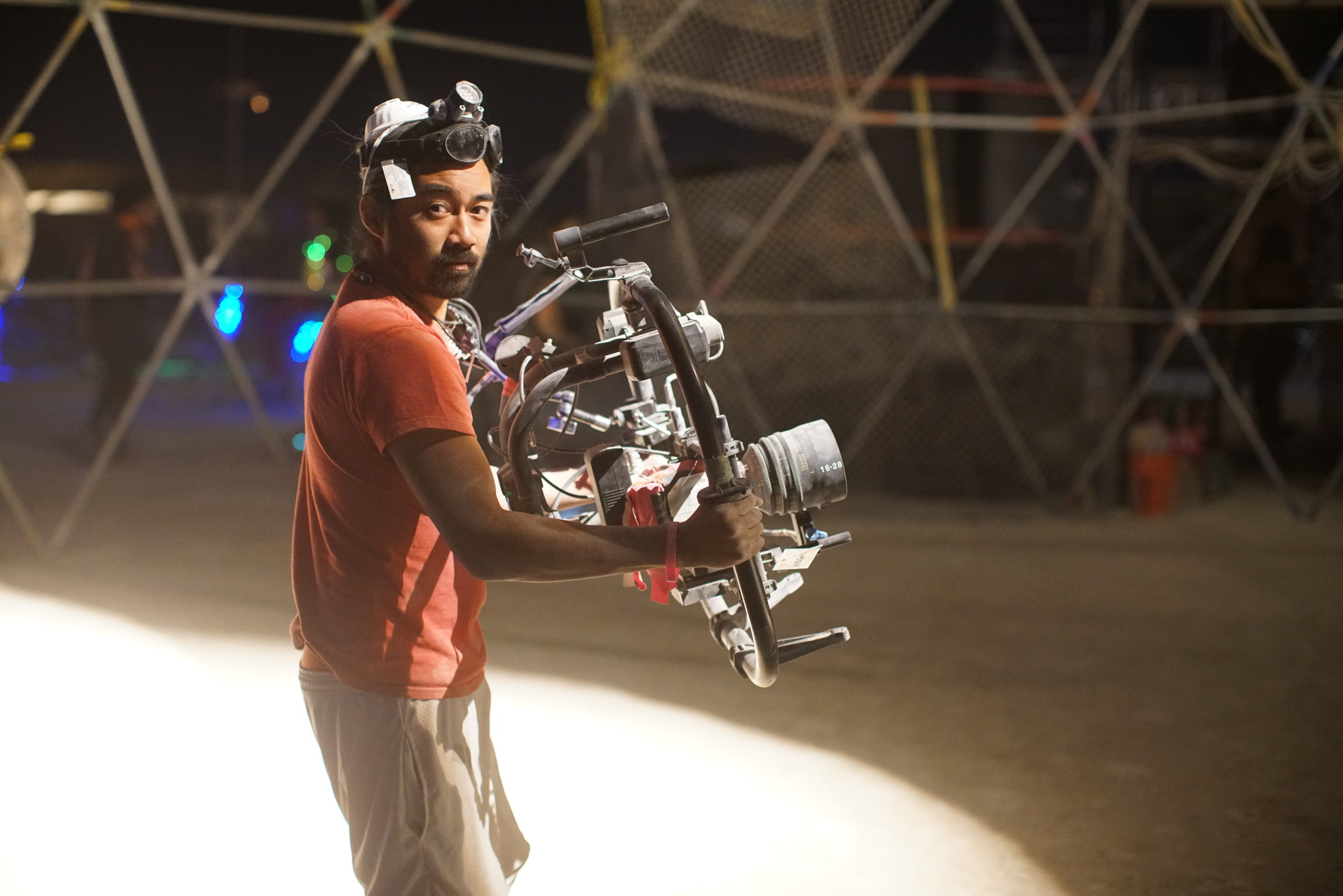 Director of Photography Neil Fernandez shooting inside the Thunderdome.JPG