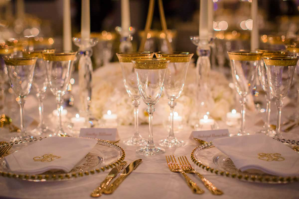 Tablescape Gold rim glassware and plates
