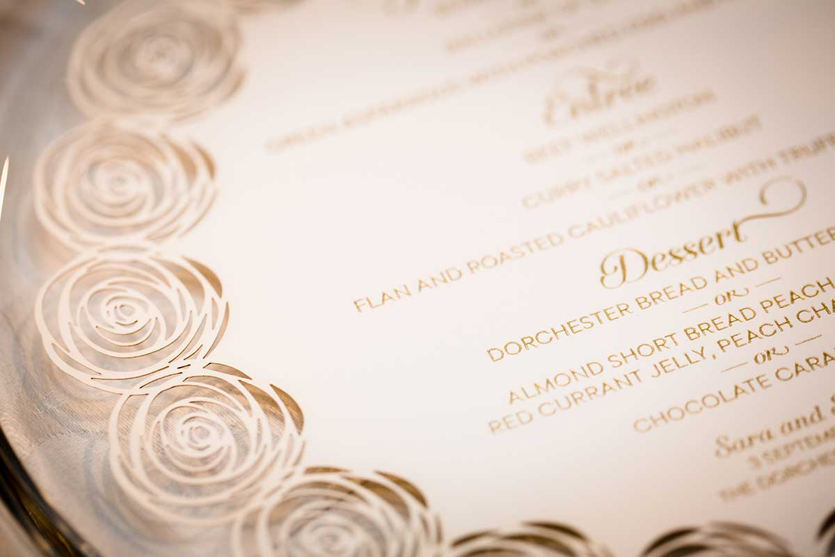 Redbliss Design stationery lasercut wedding dinner menu design at the Dorchester