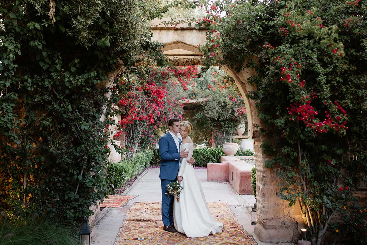Bride and groom Beldi Country Club Marrakech wedding