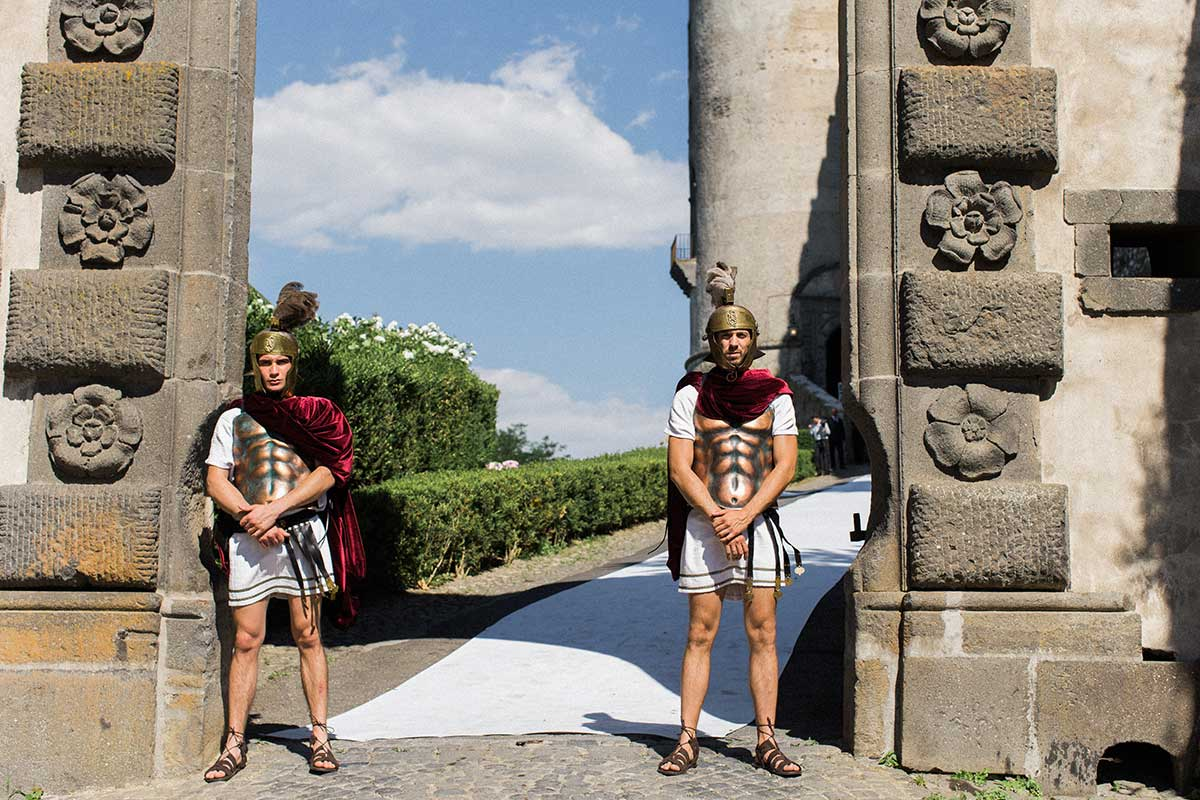 Two Roman soldiers at the gate Castello odescalchi Italy