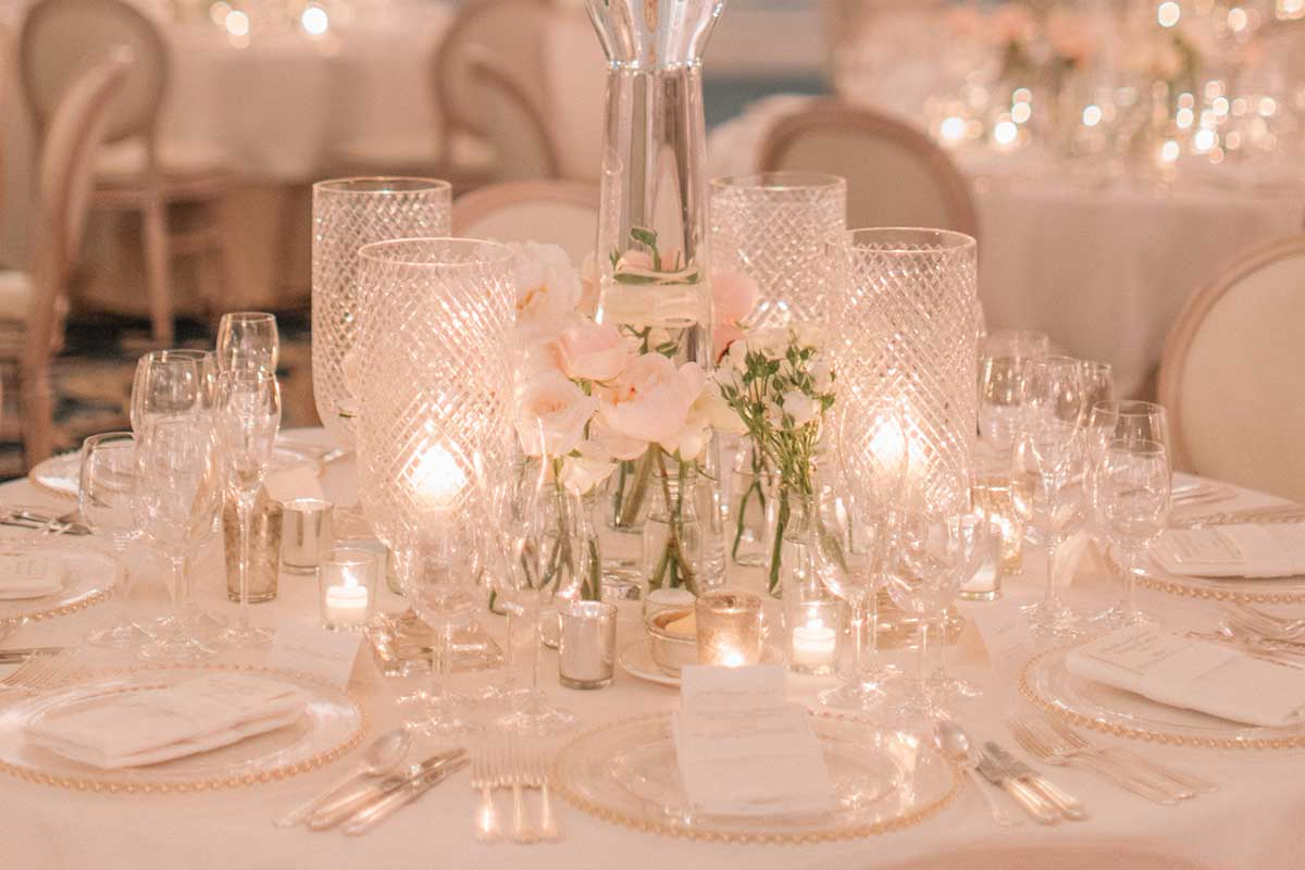 Table setting with crystal glassware