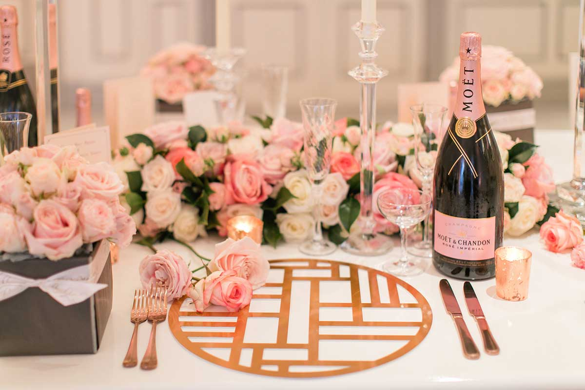 Table setting with Moet & Chandon Rose Imperial bottle
