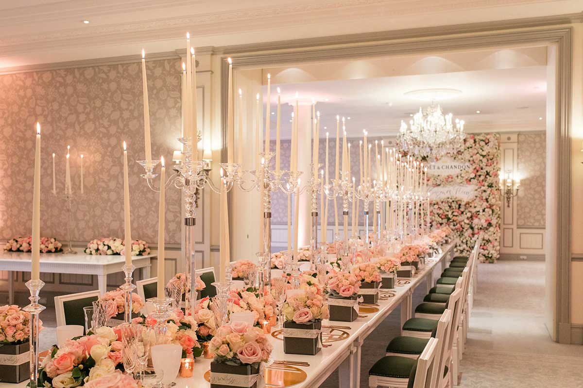Moet & Chandon dinner table lay out for Brides Magazine event