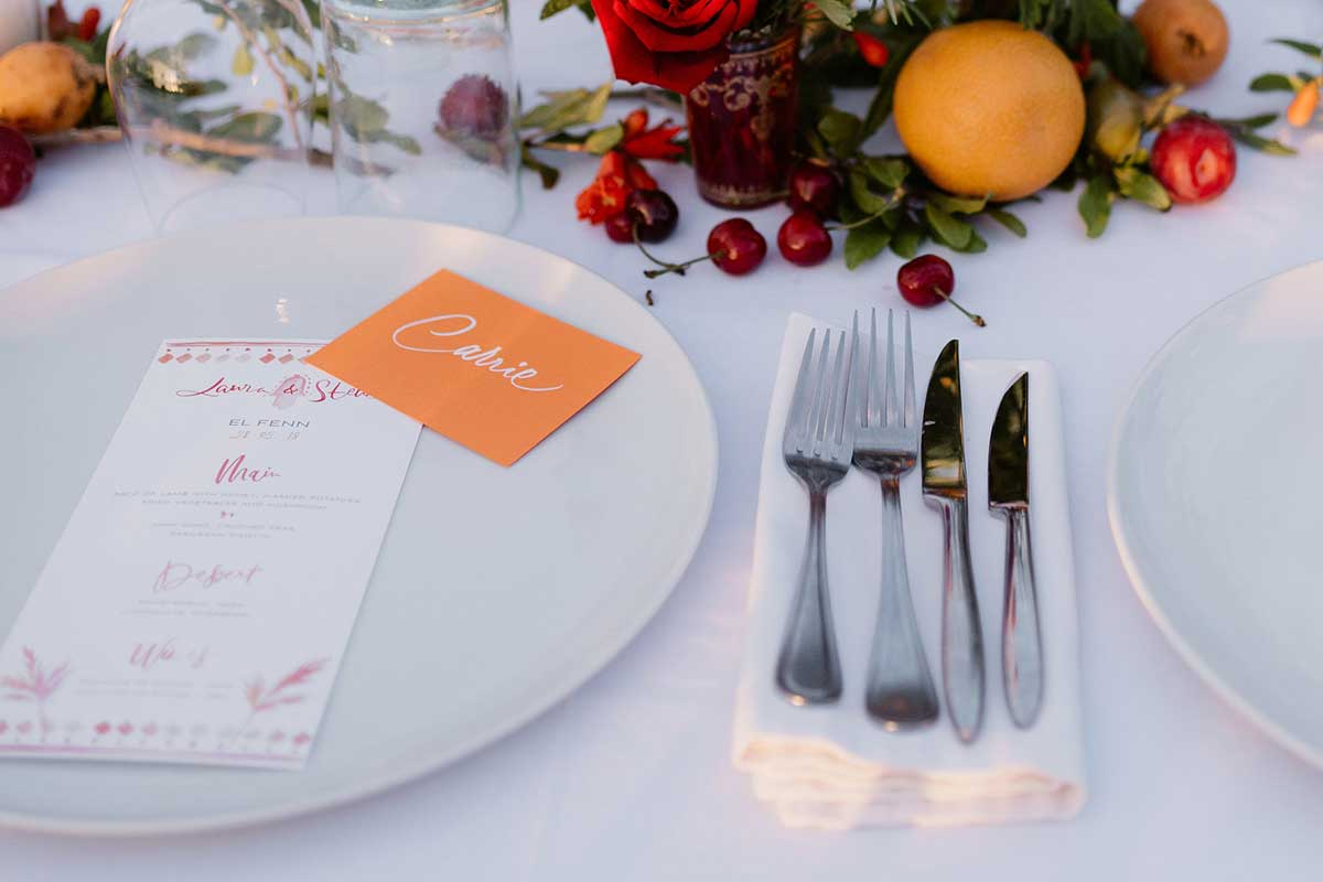 Place setting dinner party stationery