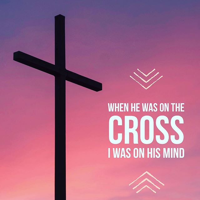 It's so easy to move into Easter weekend and not think about the true meaning of Resurrection Sunday, but I heard this song today and it brought me back to what really happened. When Jesus was on the cross YOU were on His mind. He already thought about YOU and loved YOU before you were ever born. #thecross #Jesuslovesyou