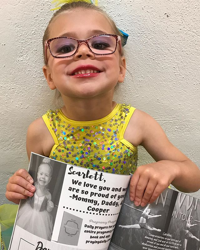 Congratulations to our sweet little dancer, Scarlett. Your Pregnancy Prayers family is honored to sponsor your program ad. 💕
