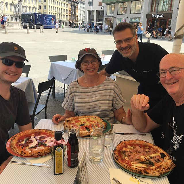 Olly with his Italian cousins.  Also enjoying pizza in Trieste.