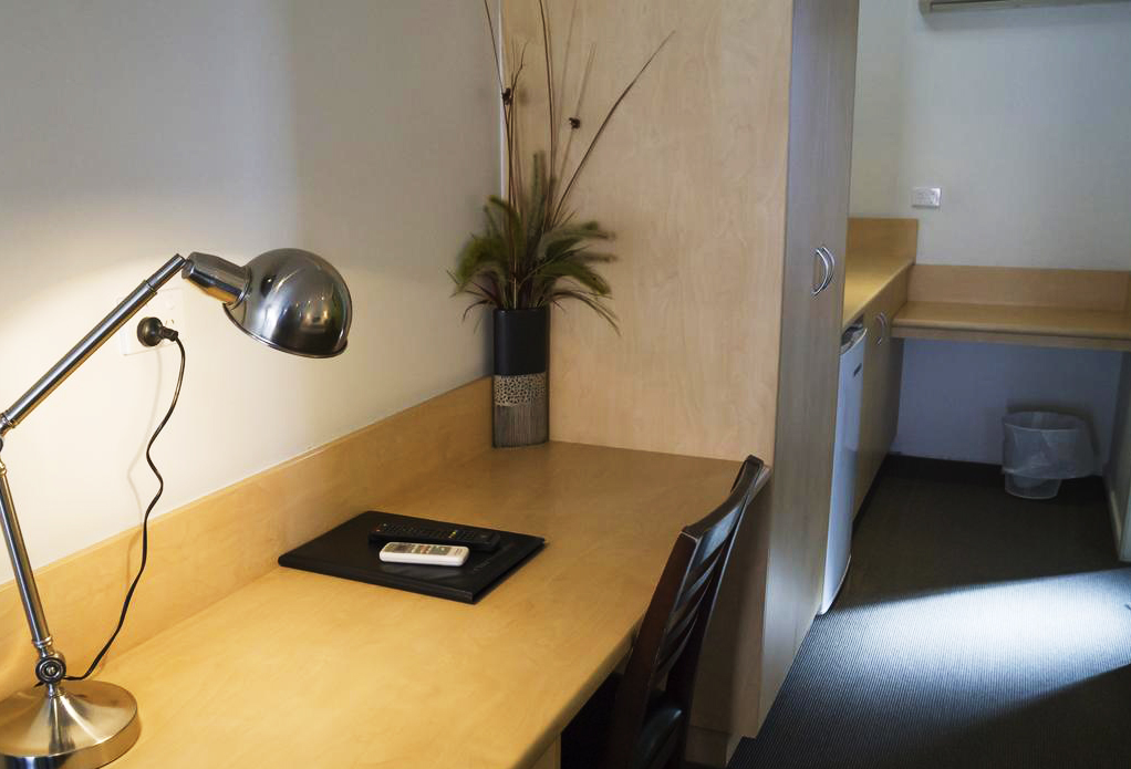 Desk & Kitchenette