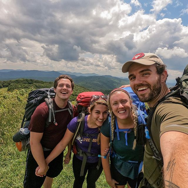 Did have a certifiably fantastic weekend on our second annual (?) backpacking trip with such a golden crew. It's always so restorative for me to get into that space in the wilderness where there remains no distraction, and I'm SUCH a sucker for freeze dried meals. Max Patch is beautiful and so are these friendships — such a huge thank you to @acestorge, @michaelvhudson, and the ever-stunning @lindsaybruening for a restful, beautiful, laughter-filled weekend. Here's to welcoming 26 this week.