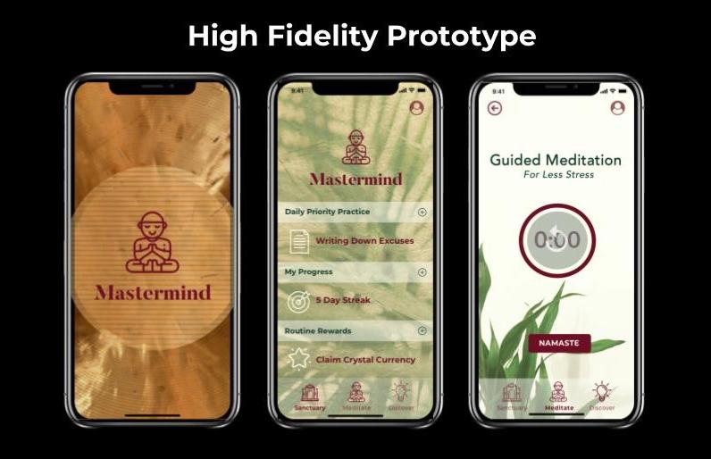 Hi fidelity prototype screens