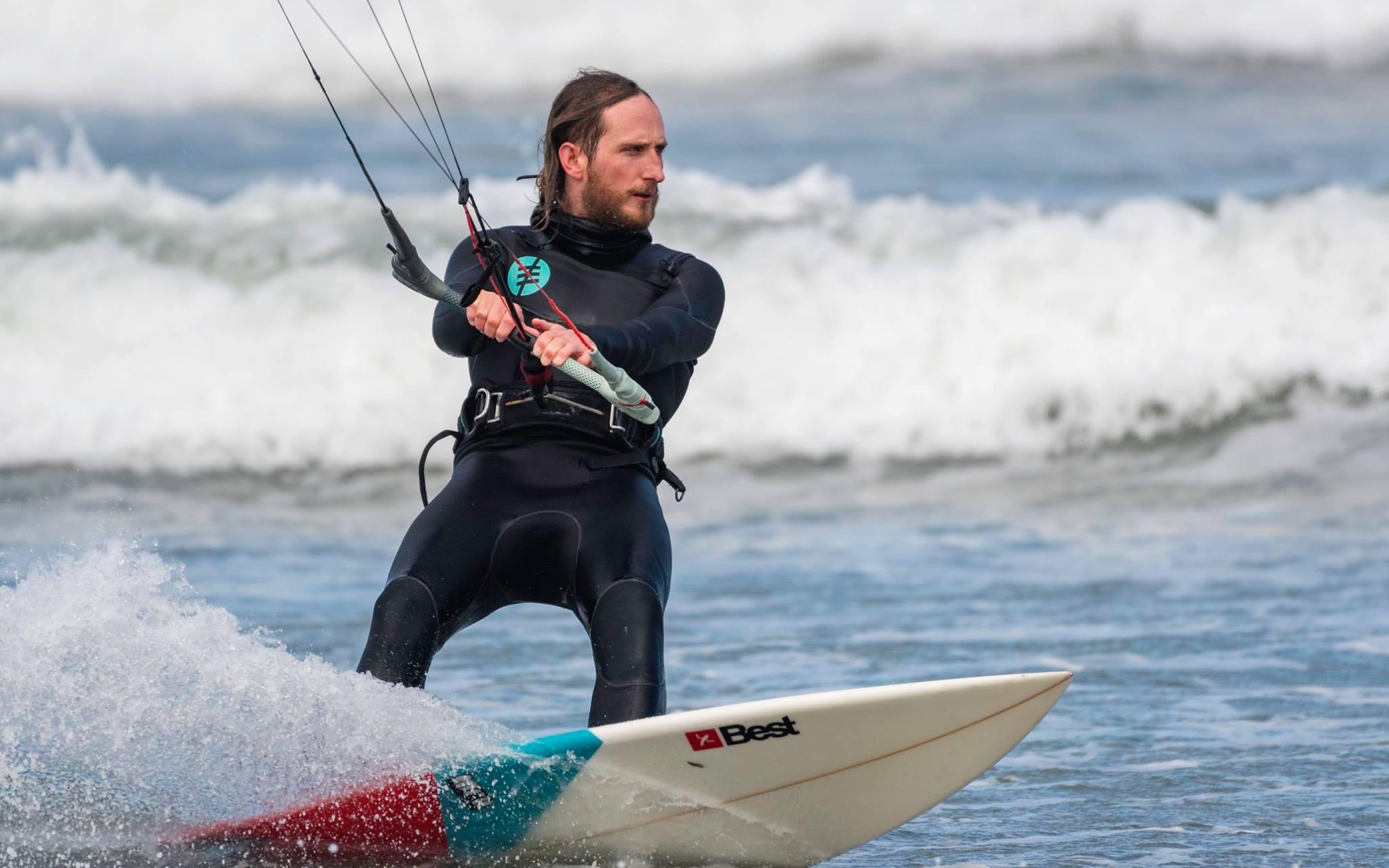 Wave-riding-kitesurfer