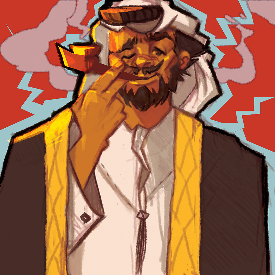The big sheikh with the big medwakh