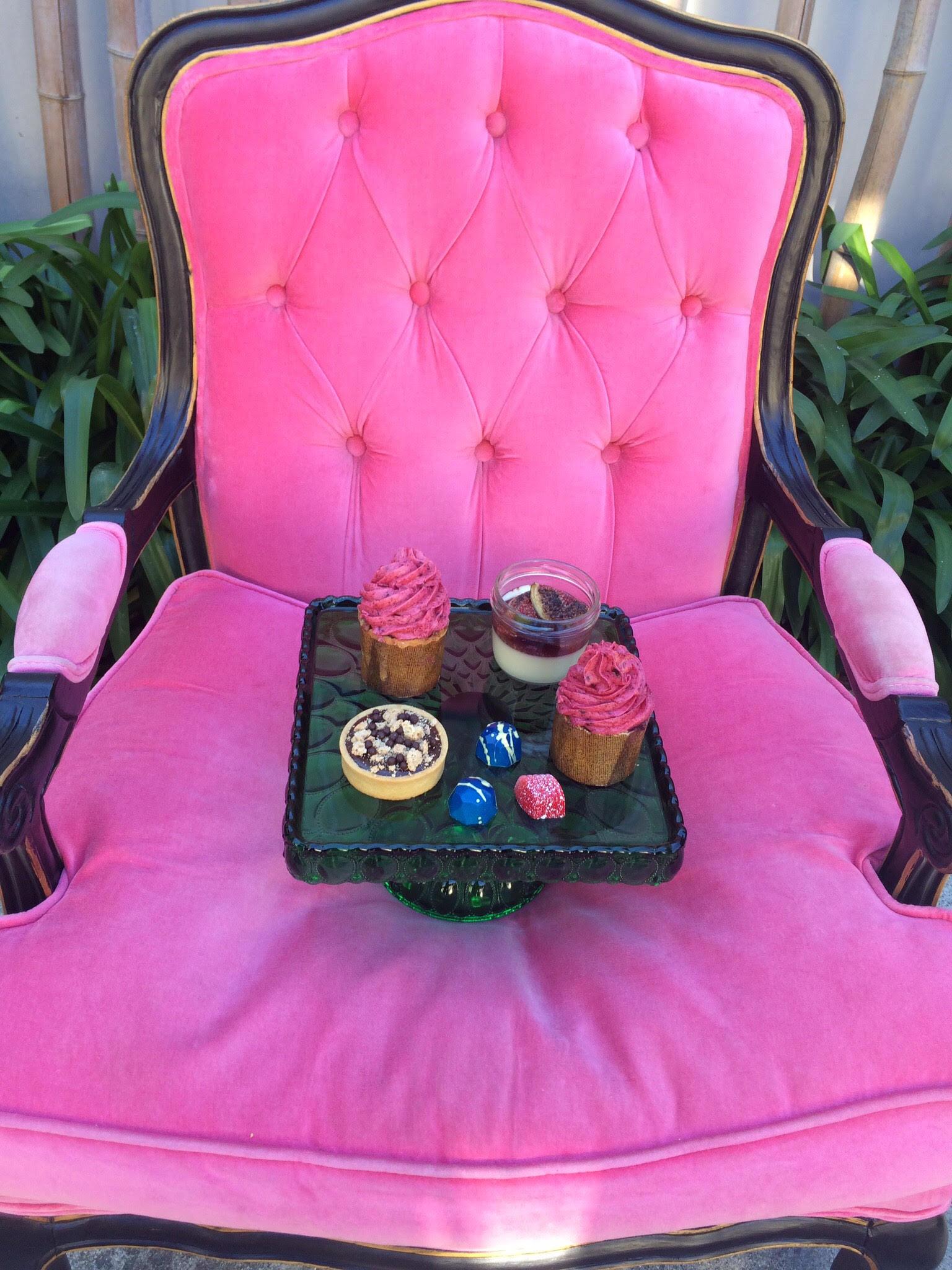 Assorted Vintage Coloured Glass Cake Stands I $40.00