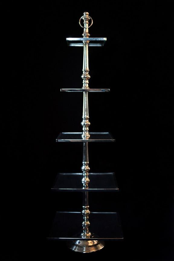 5 Tier Glass and Silver Dessert Station I $60.00 I Qty 2