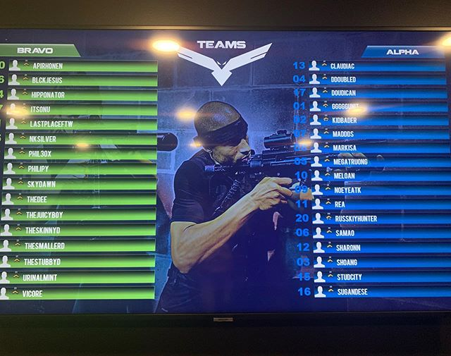 Now that's some serious teams! #classifiedyyc #lasertag #yycevents #teambuilding #thingstodoyyc #yycfit #alphavsbravo #blackvscamo #domination #hellsbells #sniper #cod #reallifecod #military #training #33players