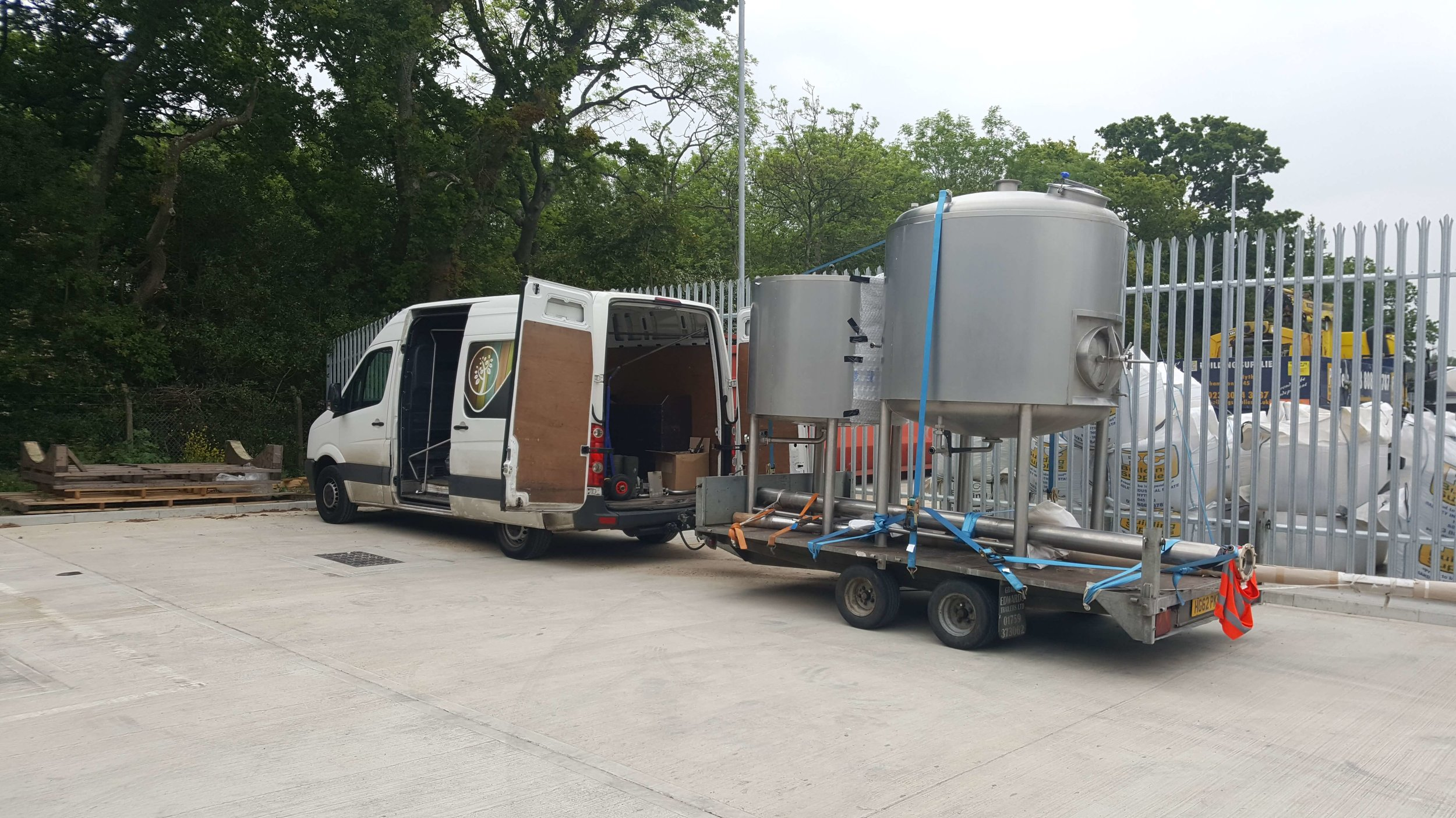 - mash tun and copper arrive