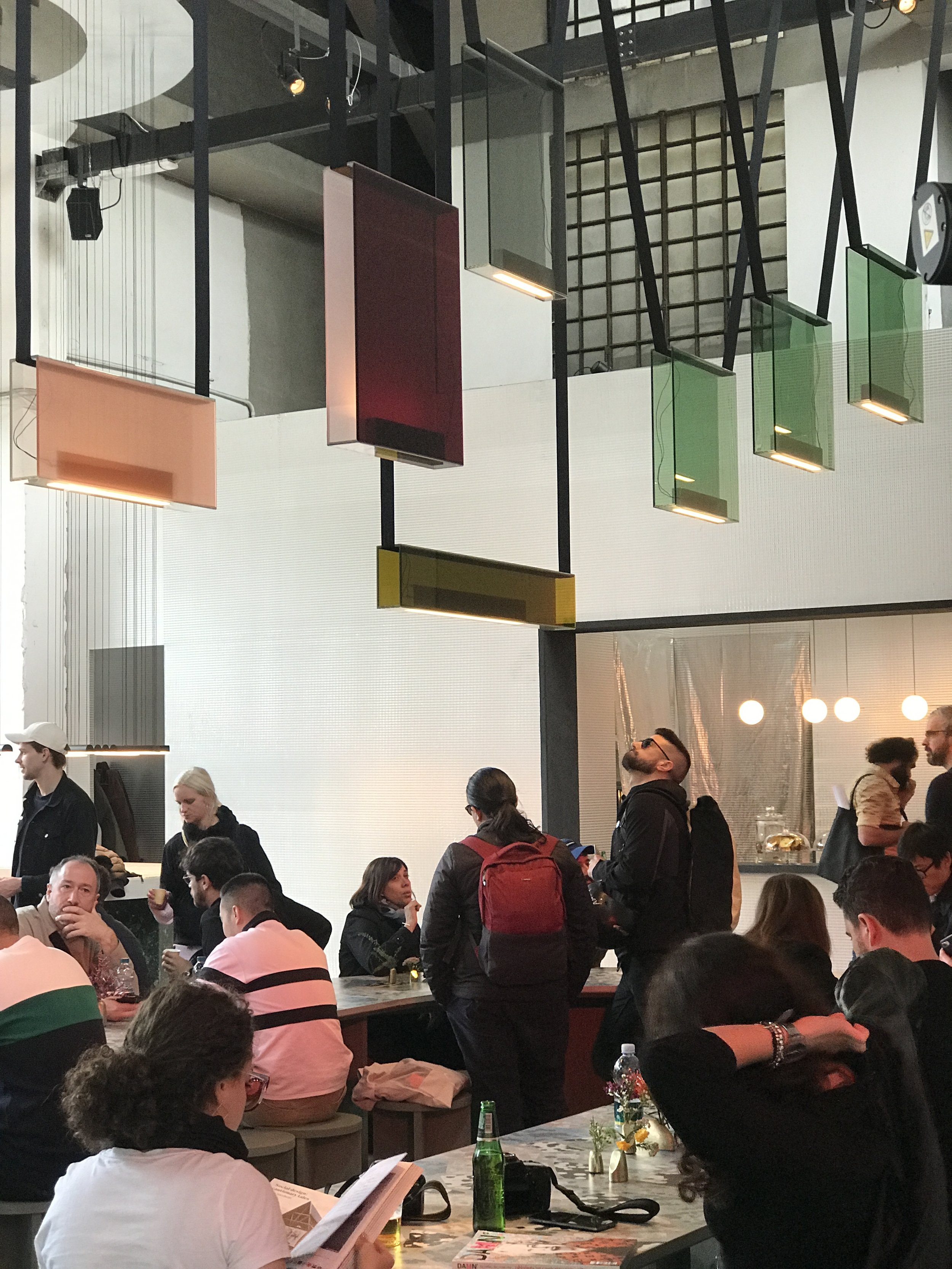 LAMBERT + FILS LUMINAIRES - The installation based in Alcova showcased the Sainte collection in all its glory. The new collection with Rachel Bussin uses layered colourful glass in rectangular forms that just float above their setting – really striking!