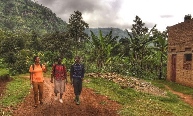 From left, Julia Jordan joins TEWDI Uganda project officer Helen Acuku and Mbale District agriculture officer Andrew Wamimbi on a visit to Lwasso, site of a horticulture irrigation project run by UC Davis.