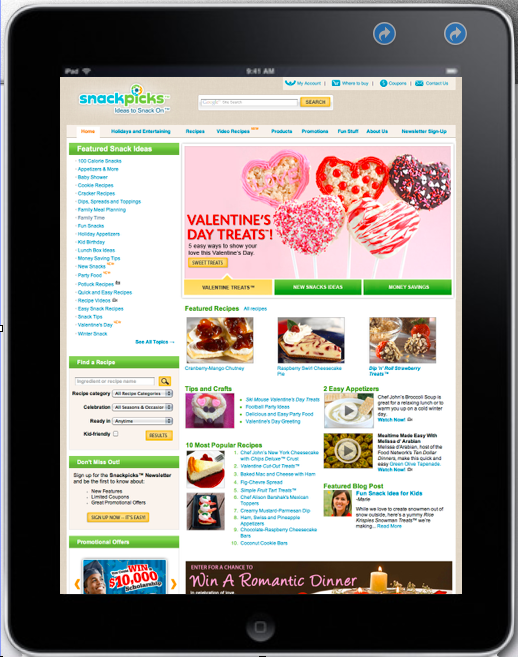 Kellogg's SnackPicks.com - I helped to create and launch Kellogg's Snackpicks.com: Mom's virtual partner for all things snacking. Managing a panel of Nielsen Power 50 Mom Bloggers, I created editorial content, video, recipes and overall marketing content for Kellogg's Cheez-Its, Pop Tarts, Rice Krispies Treats, Club Crackers, and Nutri-Grain Bars, among many others.