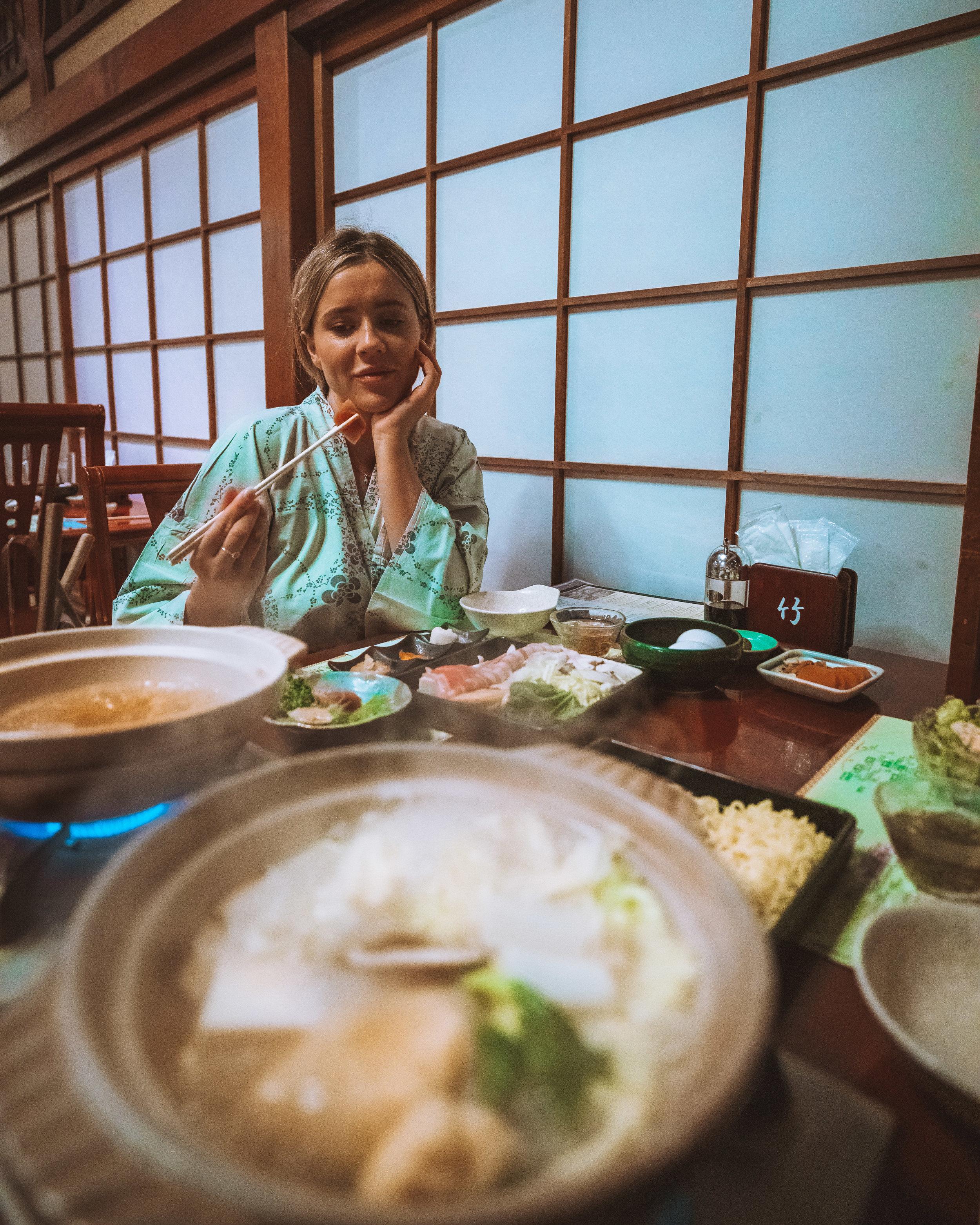 Enjoying our Kaiseki dinner at our Ryokan home